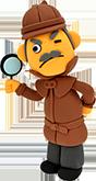 何かを探す探偵の男性